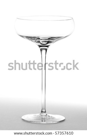 An empty saucer style champagne glass.  Studio isolated on a white background.