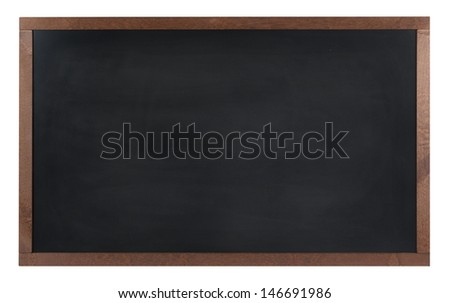 An empty school, black board (chalk board) isolated on white  - stock photo