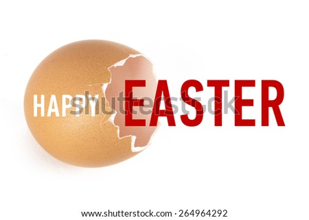 An empty shell, broken egg with words: Happy Easter - stock photo