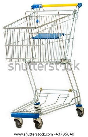 An empty shopping cart isolated on white. - stock photo