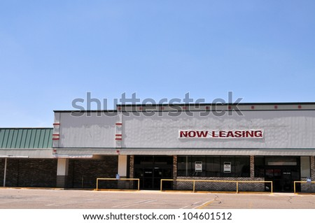 An empty shopping mall available for lease - stock photo