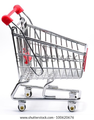 An empty shopping trolley on a white background