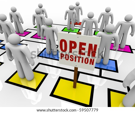 An empty square in an organizational chart with a sign reading Open Position - stock photo