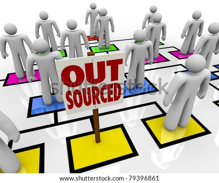 An empty square in an organizational chart with a sign reading Outsourced, showing an open position from an employee who has been eliminated and his position moved offshore - stock photo