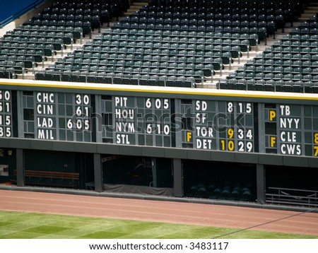 An empty stadium, with a statistics board above the dugout