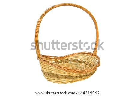 an empty wicker basket isolated on white