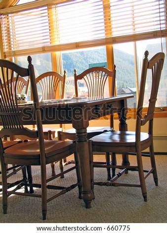 An empty wodden table - stock photo