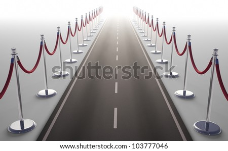 An endless road surrounded by red rope stanchions - stock photo