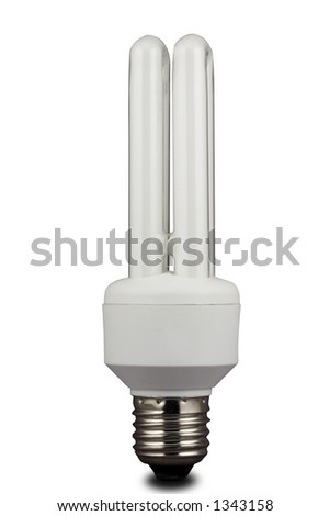 An energy efficient bulb. Isolated on white with path. - stock photo