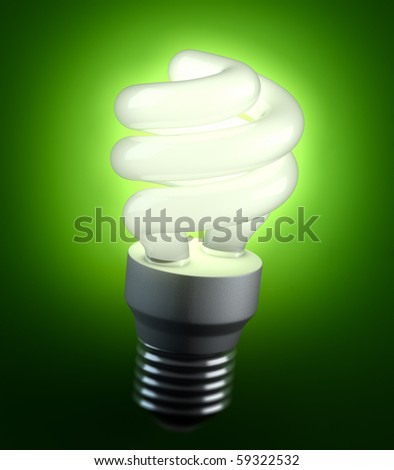 An energy saving lightbulb shinging green light - stock photo