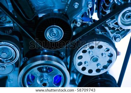 An engine of a modern car. - stock photo