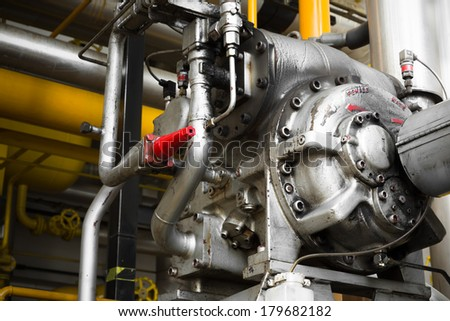 an engine of industrial equipment at a factory
