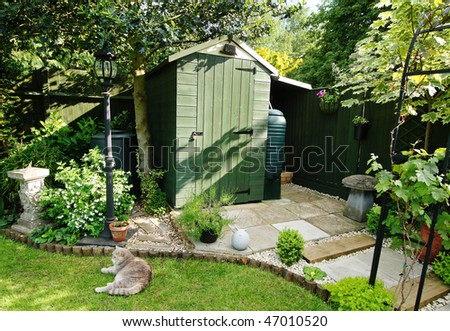 An English Back garden scene with Shed and Pet Cat sitting on the Lawn