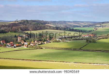 An English Landscape in the Chiltern Hills in Oxfordshire with Hamlet in the Valley