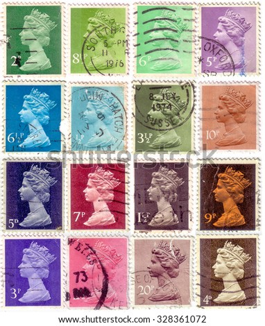 An English Used Postage Stamp showing Portrait of Queen Elizabeth 2nd, circa 1971 - 1996 - stock photo