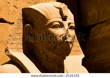 An enigmatic Egyptian Pharaoh statue in bright sun and shadow - stock photo
