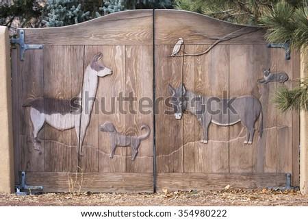 An entryway in Santa Fe, New Mexico. - stock photo