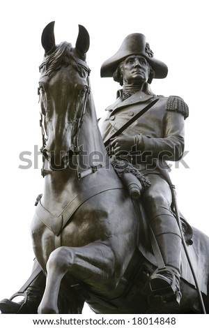 An equestrian statue of General George Washington on public display at the Boston Public Garden, a public park. - stock photo