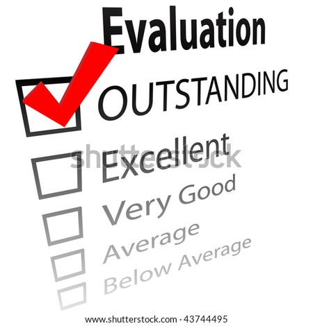 An evaluation for job performance or a grade report card with a 3D check mark in the OUTSTANDING box. - stock photo