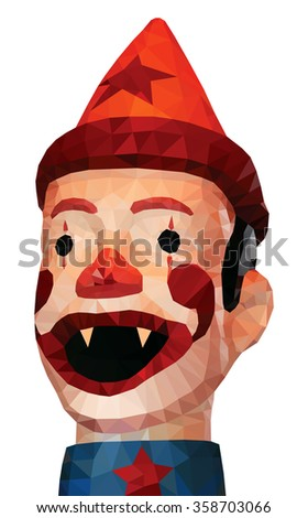 An evil clown with fangs, low poly illustration.  - stock photo
