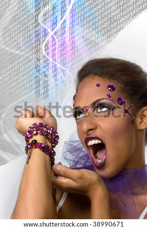 An evil queen with glamorous makeup and glowing plasma in the background. - stock photo