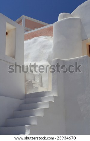An example of greek architecture - typical stairs at Santorini island - stock photo