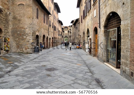 An example of the Tuscan medieval architecture in Tuscany - stock photo