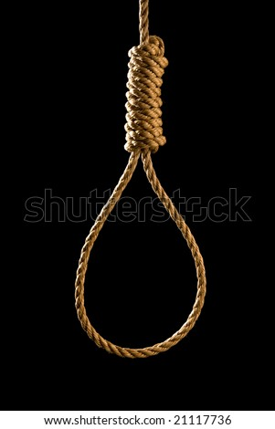 An execution or suicide noose isolated on black and backlit for a dark mood - stock photo