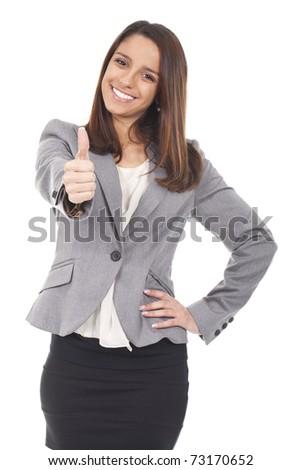 an executive woman making ok sign - stock photo