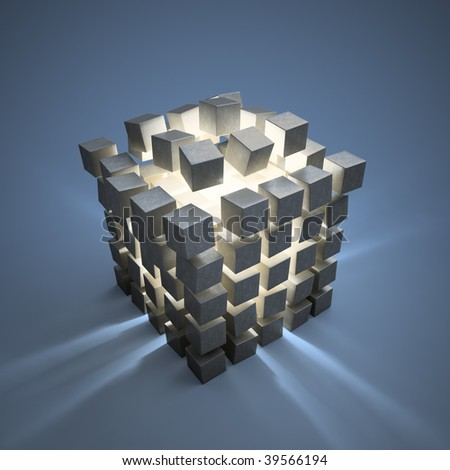 An explosion of abstract cubes cgi background - stock photo
