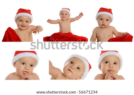 An expressive baby boy in a Santa hat displaying delight and the wonder of Christmas.  Isolated on white. - stock photo