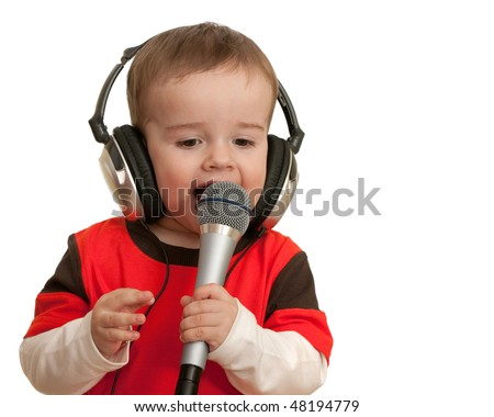 An expressive toddler is singing; isolated on the white background