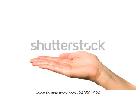 an extended female hand on white background