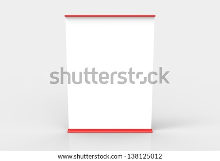 An extra wide roll up banner. Red in color. Easily paste your own content on the banners and create an advertisement or info post.