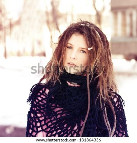 an extraordinary portrait of a beautiful girl - stock photo
