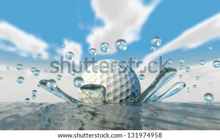 An extreme closeup of a golf ball hitting water on a blue sky background