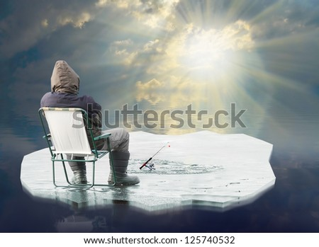 An fisherman floating on the iceberg. Spring ice thaw concept. - stock photo
