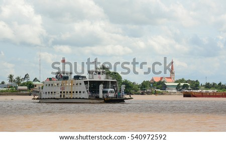 An Giang, Vietnam - Aug 7, 2016. A ferry carrying passengers on the Mekong River in Southern Vietnam. The Mekong is the world's 12th-longest river and the 7th-longest in Asia.