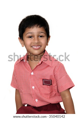 An handsome Indian immigrant kid wearing an uniform - stock photo