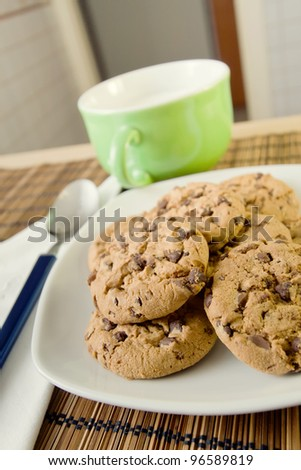 An happy morning: Breakfast with chocolate cookies! - stock photo