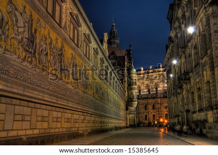 An HDR image of the Dresden Procession of Rulers - stock photo