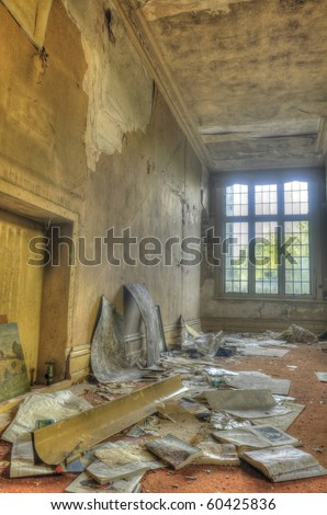 An HDR shot of an abandoned manor
