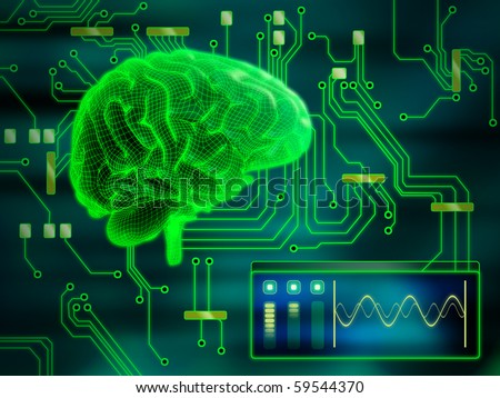 An human brain as a central processing unit. Digital illustration. - stock photo