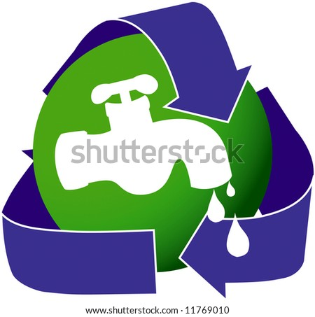 An icon depicting a dripping water faucet. Encouraging water conservation. - stock photo