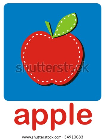 An icon of red apple over a blue background.
