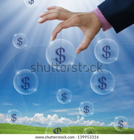 an idea for make money with business hand and dollar sign. - stock photo