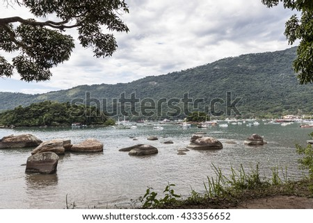 An Ilha Grande Bay - full of yachts - stock photo