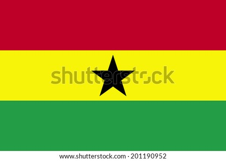 An Illustrated Drawing of the flag of Ghana - stock photo