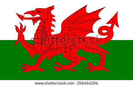 An Illustrated Drawing of the flag of Wales - stock photo