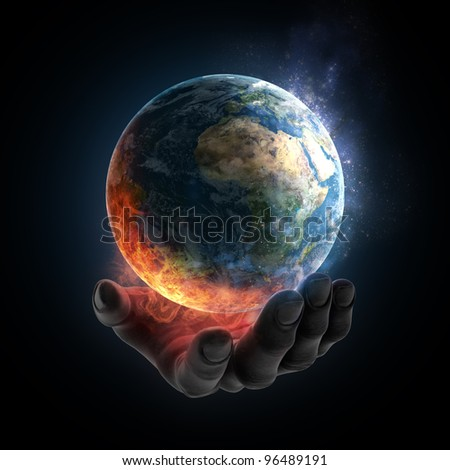 An illustrated hand holding a burning Earth - stock photo